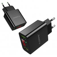 PA348 - FLOVEME Dual USB LED Display Fast Travel Wall Charger