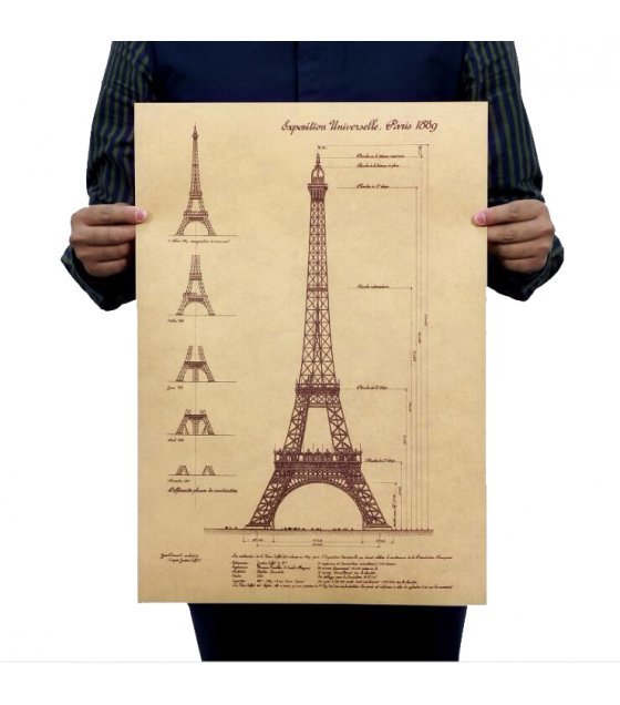 PO014 -Eiffel Tower Blueprint Poster