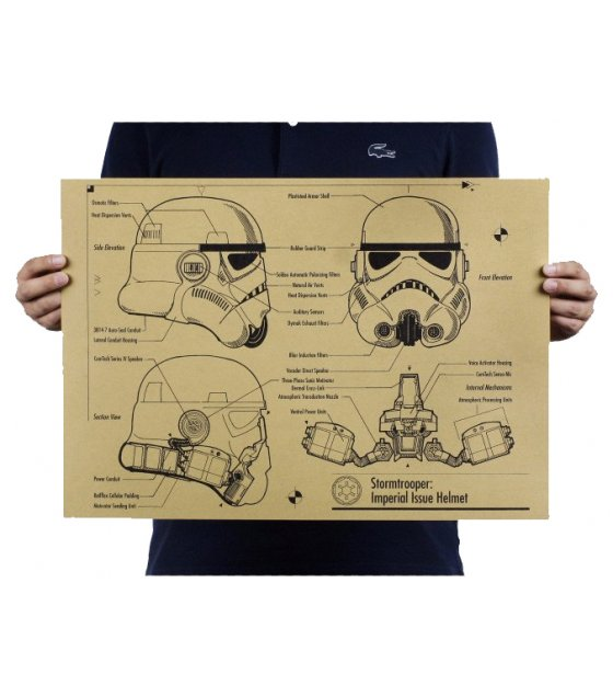 PO016 -Storntrooper Helmet Blueprint Poster