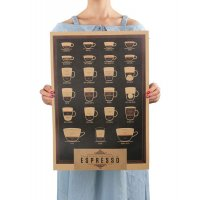 PO033 -Italian coffee matching map Poster