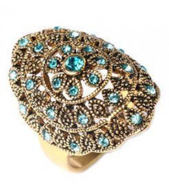 R141 - Carved Blue Gemstones Ring