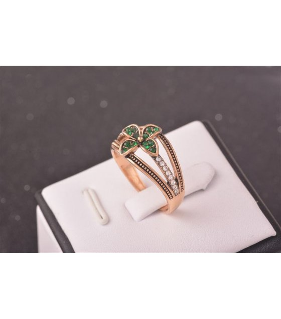 clover diamond silver rings opening double rose gold ring adjustable circle