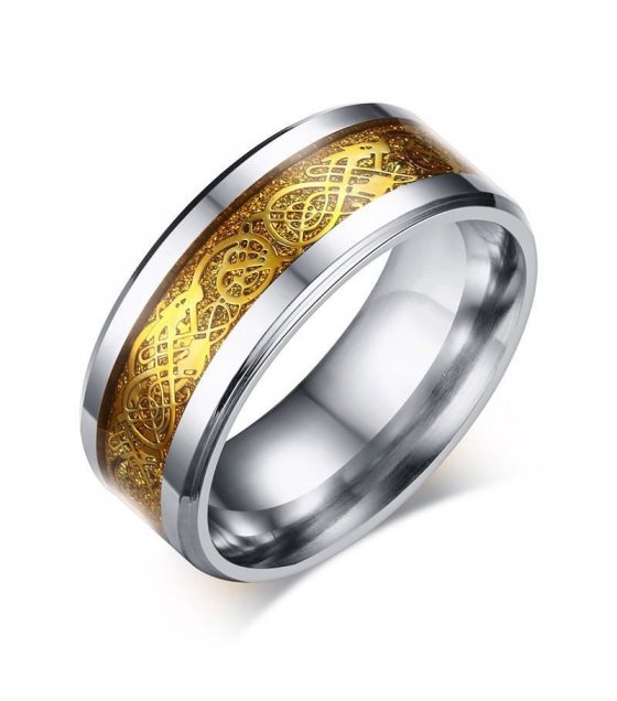R262 - Gents Dragon Fire Golden Ring