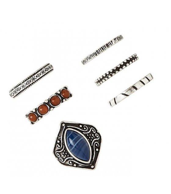 R285 - Carved Gemstone Ring Set