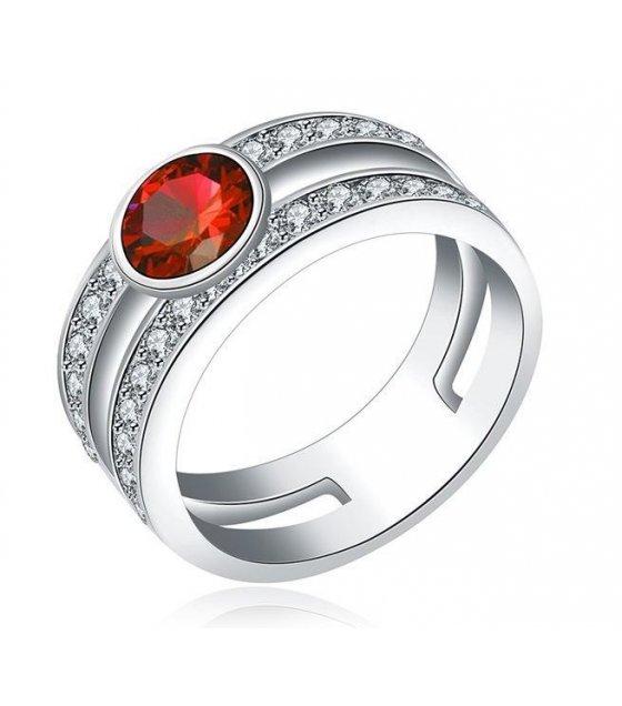 R305 - platinum red diamond ring