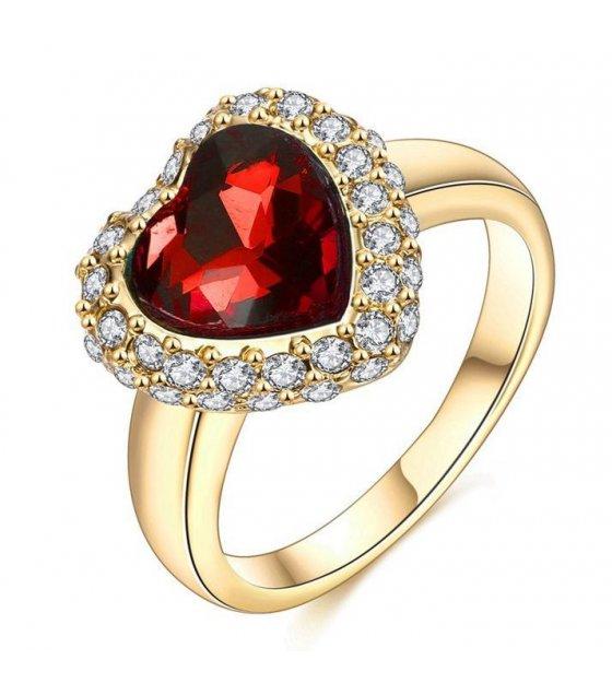 R351 - Red Gemstone Heart Ring