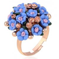 R390 - Blue Floral Ring
