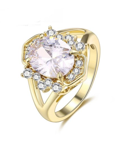 R403 - Gold Rhinestone Ring