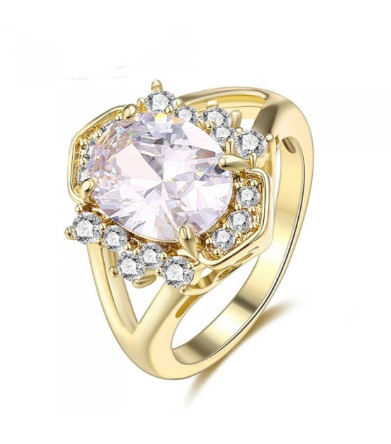 R403 - Gold Rhinestone Ring