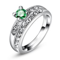 R438 - Austrian alloy white green zircon ring