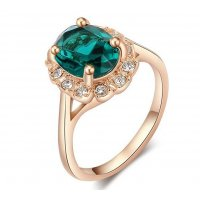 R439 - Crystal Gold Plated Green Diamond Ring