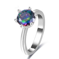 R440 - Single drill six claw color diamond ring