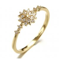 R473 - Gold-plated snowflake diamond ring