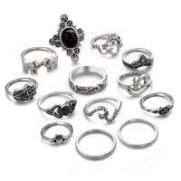 R481 - Retro palm carved elephant black gem joint ring set