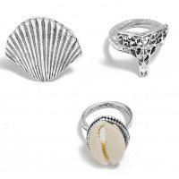 R482 - Retro exaggerated geometric Ring Set