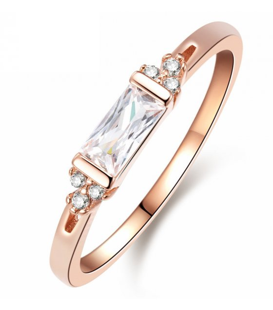 R486 - Rectangular solid zircon ladies diamond ring