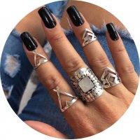 R494 - Boho retro leaf triangle 5-piece ring