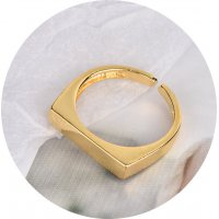R525 - Simple geometric flat rectangle Ring