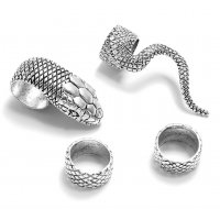 R541 - Retro heavy metal dark gothic punk 4 four-piece ring set