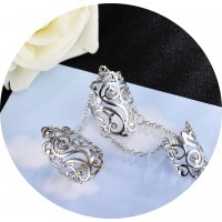 R542 - Diamond hollow rhinestone adjustable ring