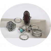 R553 - Retro ethnic style 8 piece Ring Set