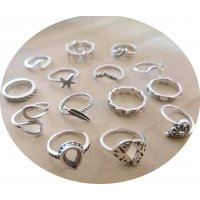 R567 - Retro ethnic style opal ring Set