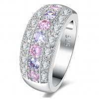 R569 - Diamond Zircon Ring Platinum Fashion Ring