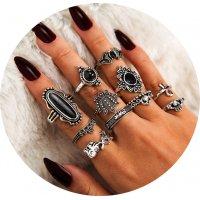 R573 - Fashion black gemstone Ring