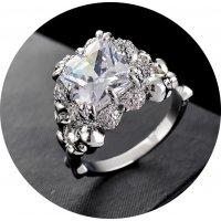 R576 - Retro Silver zircon ring