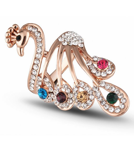 R578 - Colorful diamond peacock ring