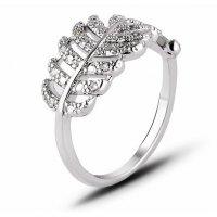 R582 - Zircon hollow leaf ring