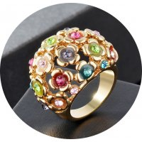 R585 - Floral alloy gold-plated Ring