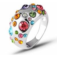 R587 - Colorful rhinestone inlaid ring