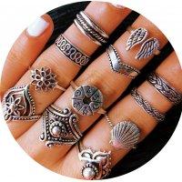 R596 - Ancient silver flower Gan hollow geometric set ring