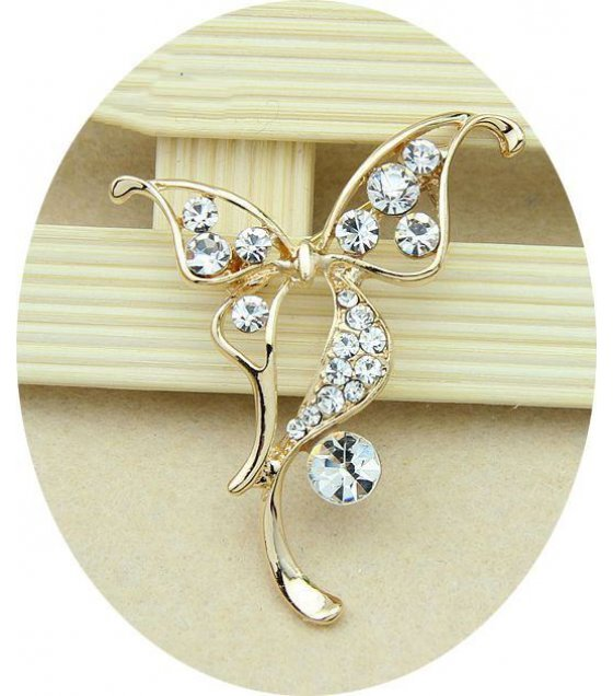SB047   - Golden Butterfly Brooch