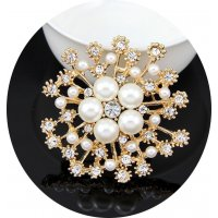 SB052 - Pearl diamond flower brooch