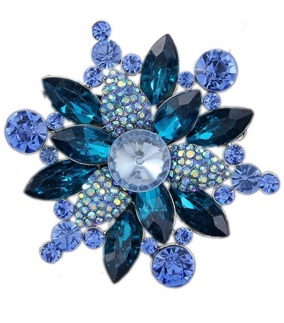SB070 - Crystal Blue Stone Brooch