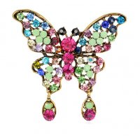 SB102 - Colorful Gemstone Butterfly Brooch