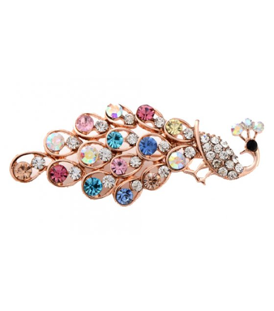 SB122 - Multicolored crystal diamond peacock Brooch