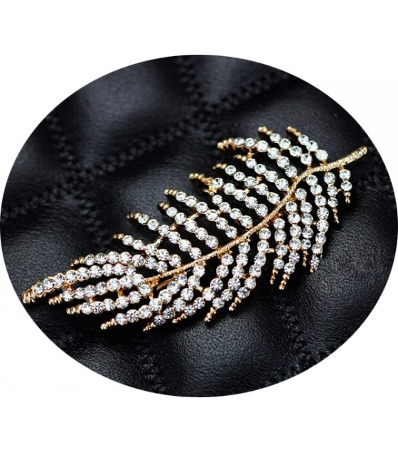 SB123 - Crystal Feather Brooch