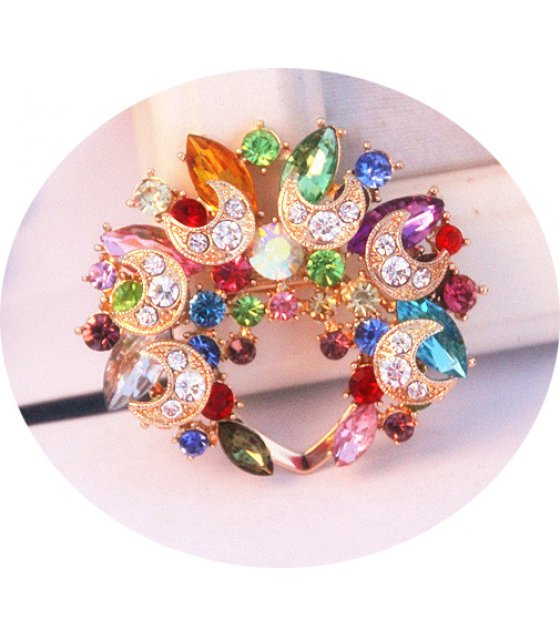 SB125 - Colorful moon diamond Brooch