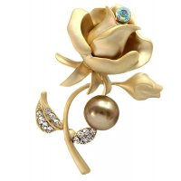 SB128 - Fashion temperament wild rose pearl diamond brooch