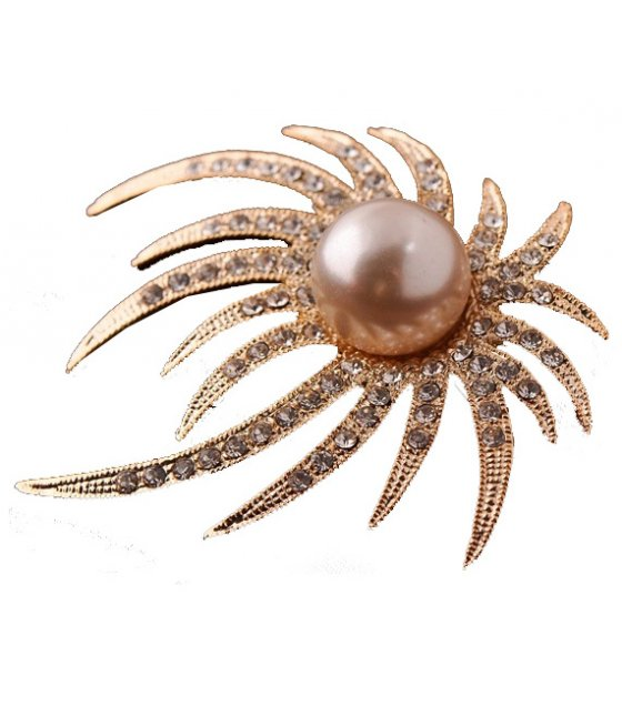 SB139 - Golden Flame Pearl Brooch