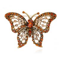 SB162 - Retro alloy diamond butterfly brooch