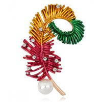 SB166 - Drop oil pearl color feather brooch