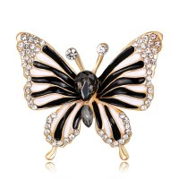 SB175 - Black butterfly drip oil diamond brooch