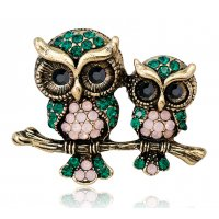 SB191 - Retro owl animal brooch