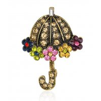 SB209 - Retro cute umbrella alloy diamond brooch