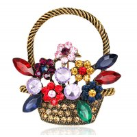 SB223 - Korean retro cute flower basket Saree Brooch