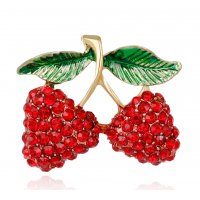 SB261 - Diamond-encrusted cherry brooch